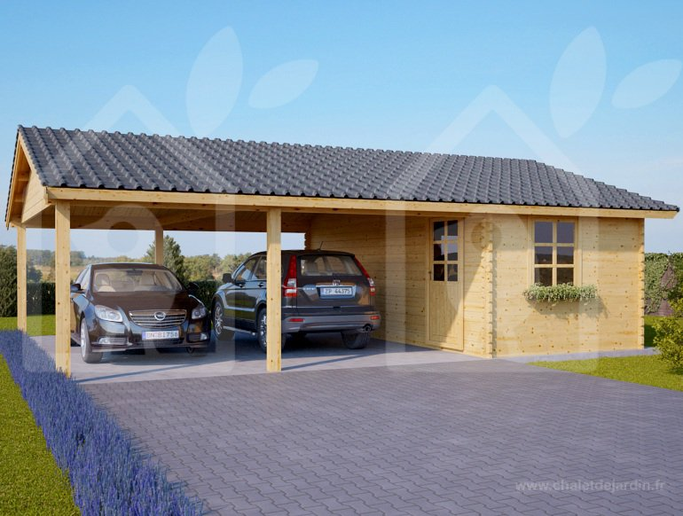 CARPORT DOUBLE + KŮLNA, 6X7,5 M, TL. 44 MM